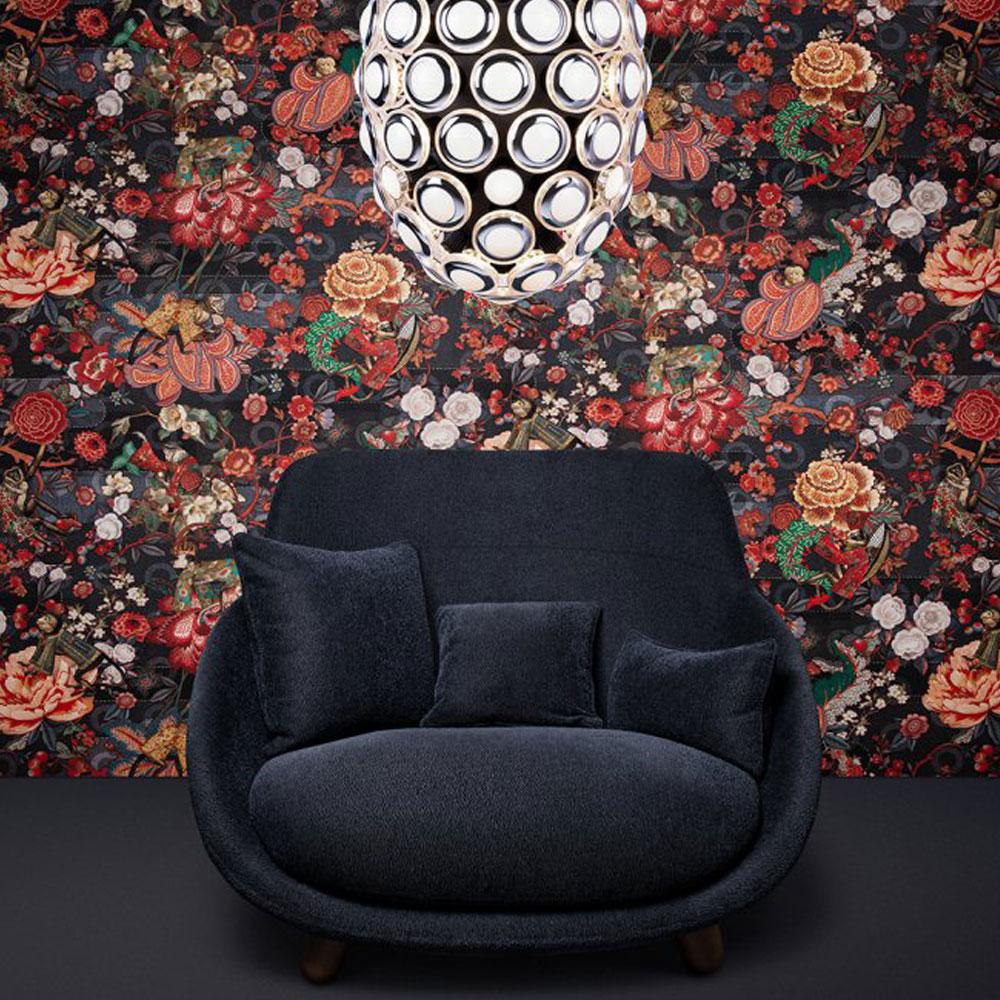 ARTE - Moooi Wallcovering Rendezvous Tokyo Blue - Farbe Indigo - Raumbild