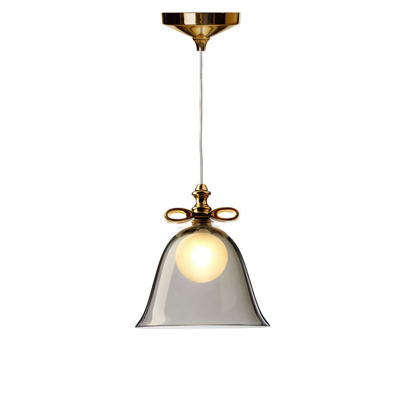 Moooi Pendelleuchte Bell Lamp -  Schirm smoke/ Schleife gold