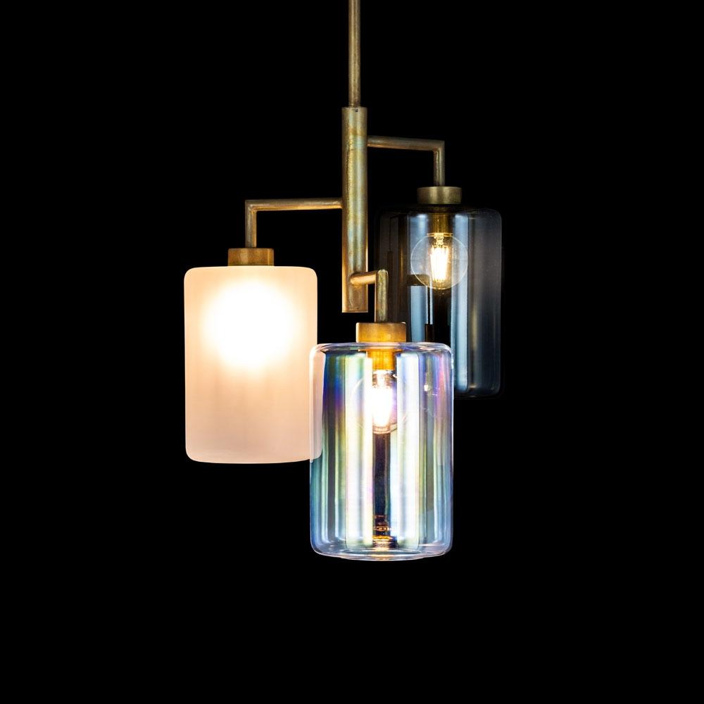 Louise Trio - Glasschirm satiniert & irisierend & grau getönt
