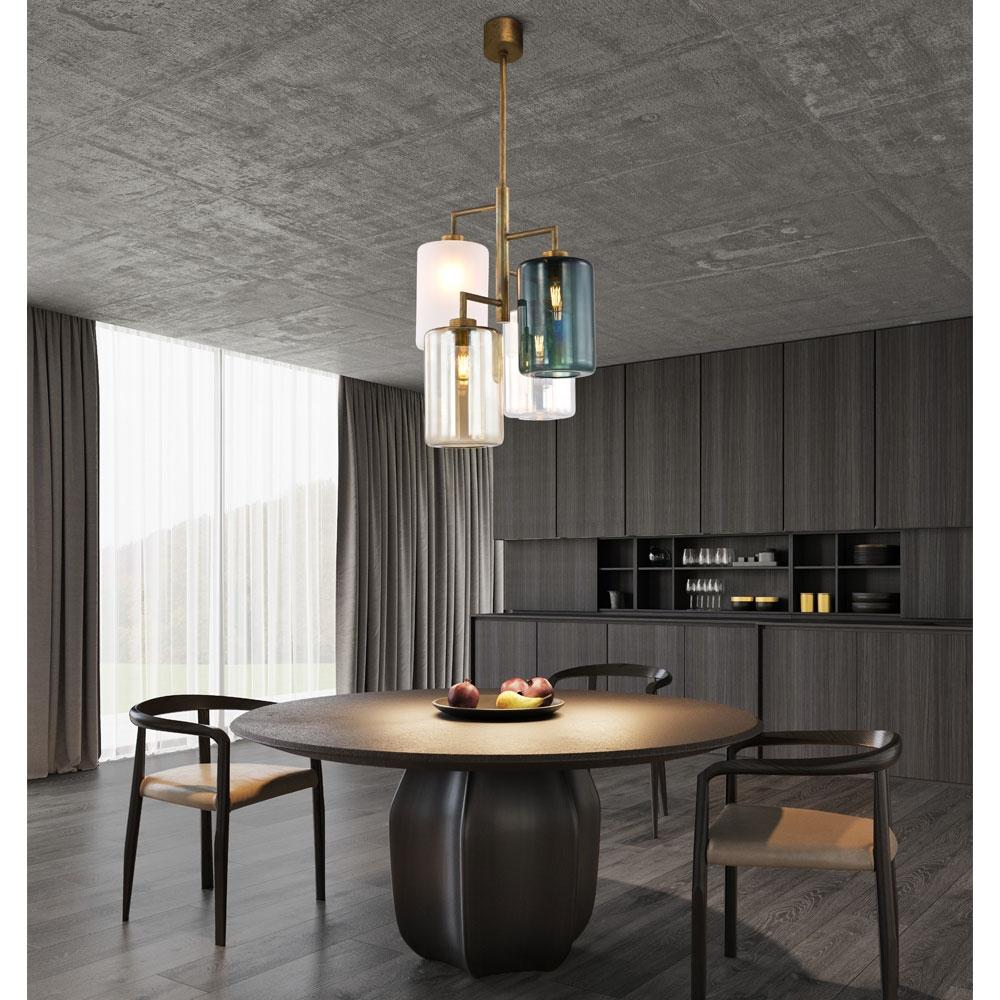 Louise Quattro - Glasschirm satiniert/ bronze/ irisierend/ grau getönt