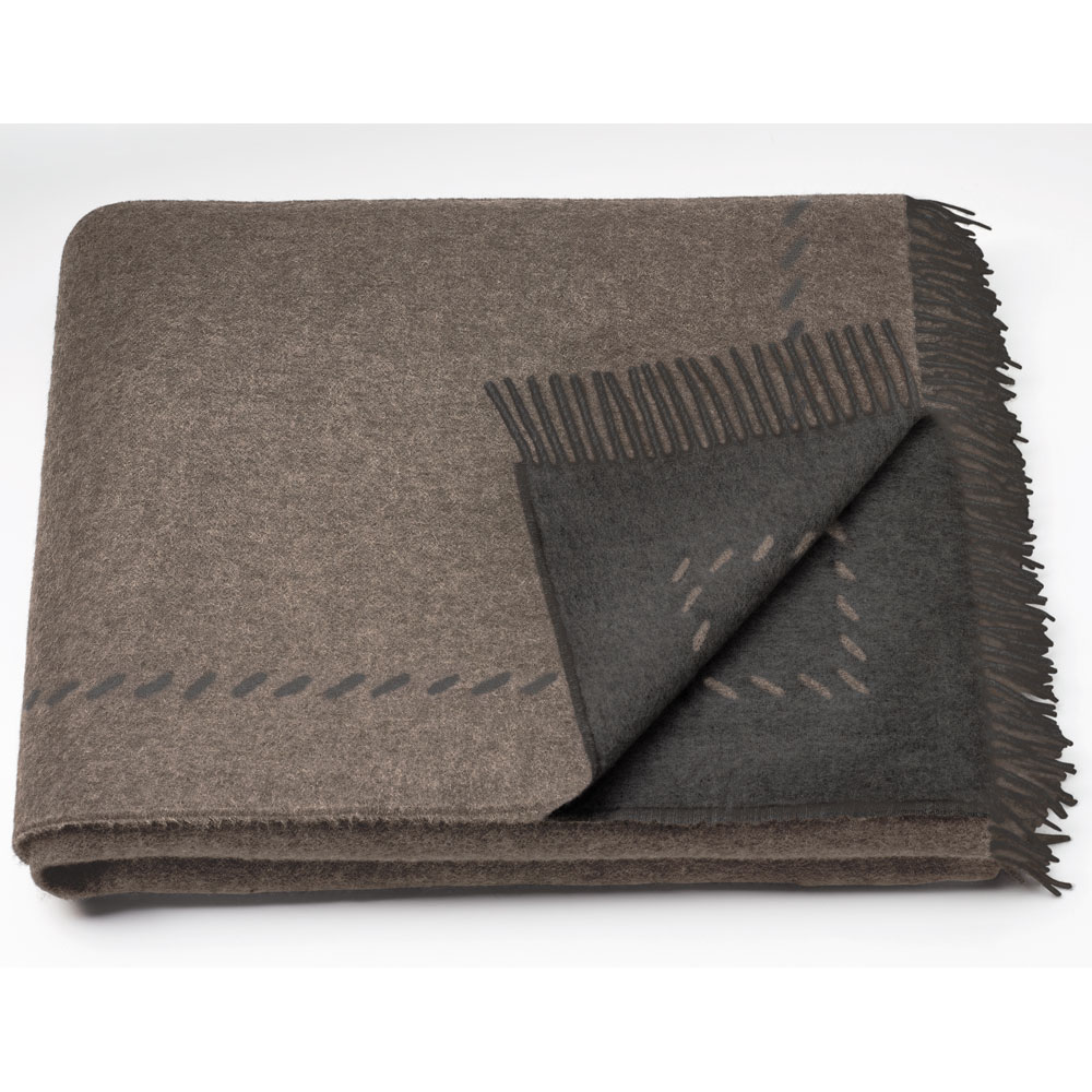 Sahco - Plaid Cosi - Farbe Camel/Dunkelbraun