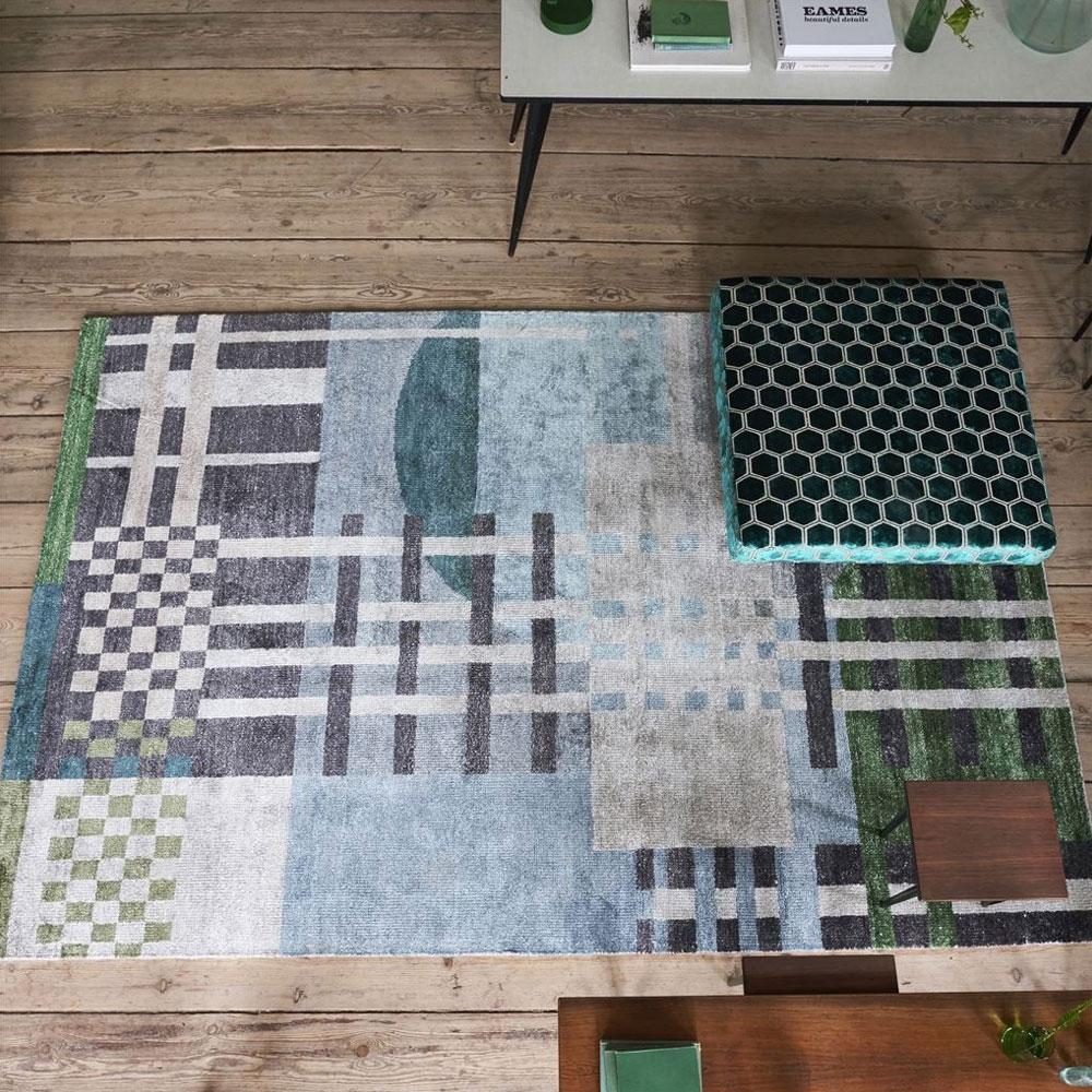 Teppich Chandigarh - Farbe Aqua - im Wohnzimmer