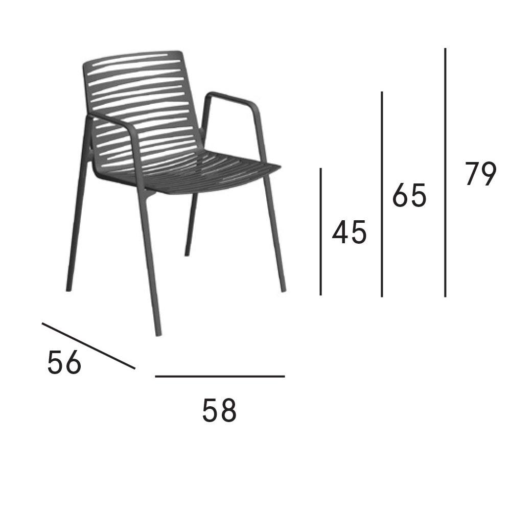 Zebra Armlehnstuhl - Maße