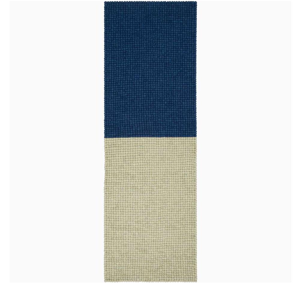 Myfelt Filzkugelteppich Contrast - beigegrün/ dunkelblau