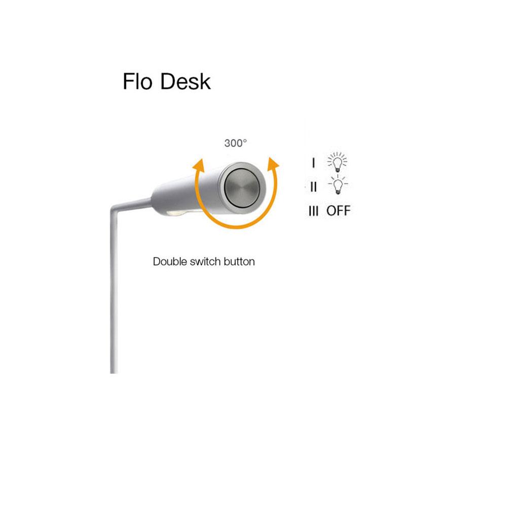 Flo Desk - Leuchtkopf drehbar & mit Zweistufenschalter.