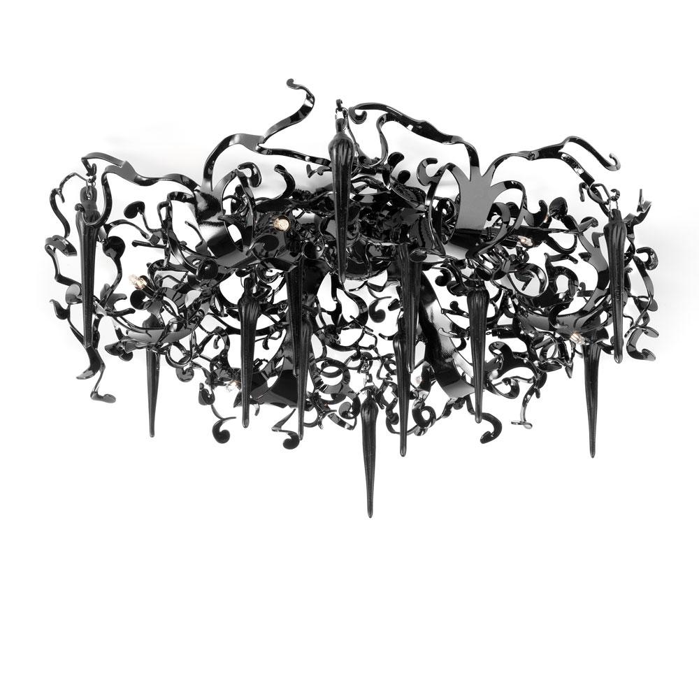 Flower Power Ceiling Lamp Round - schwarz