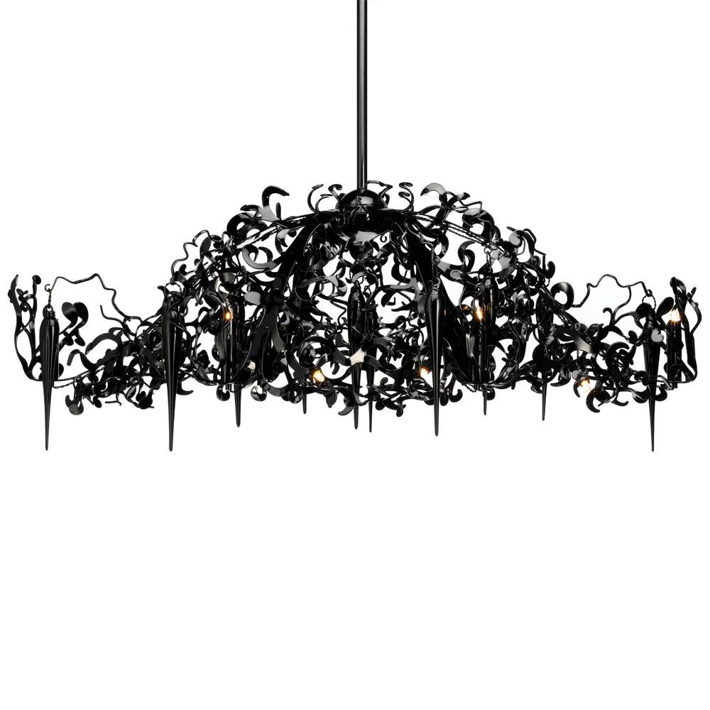 Flower Power Chandelier Oval - schwarz