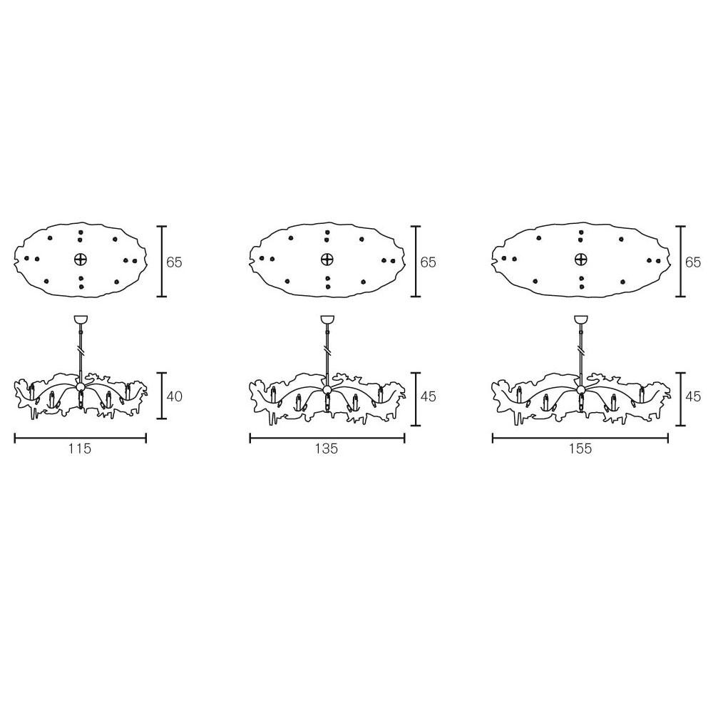 Flower Power Chandelier Oval - Maße in cm