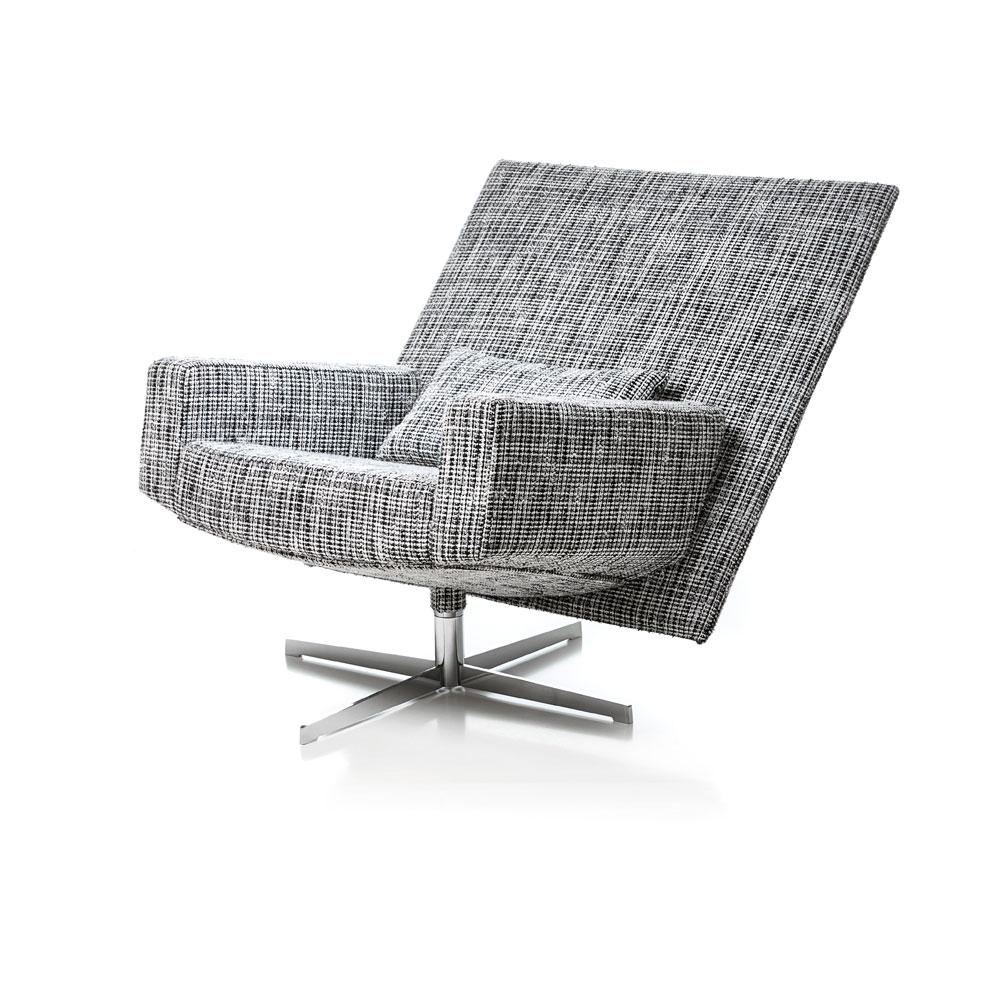 Jackson Chair - Bouclé schwarz weiß - in geneigter Position