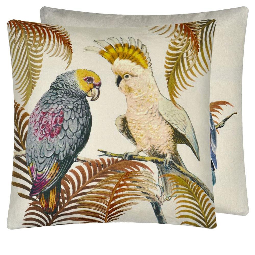 John Derian Kissen - Parrot and Palm Parchment