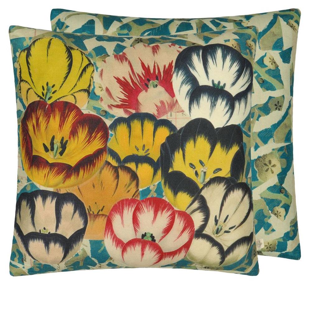 John Derian Kissen - Tulips Cobalt