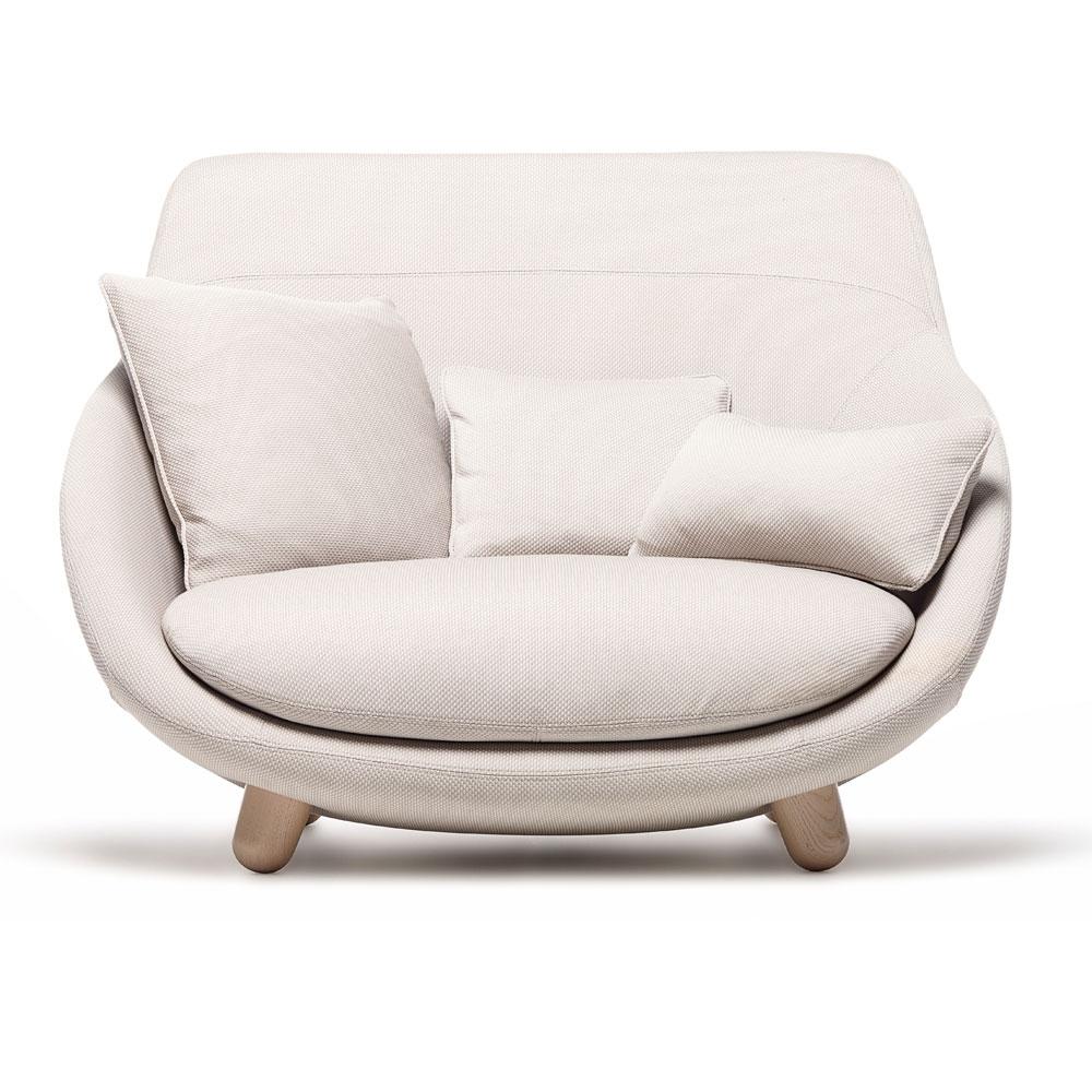 Love Sofa High Back - Bezug Trickle/ flour - Füße: weiß gewaschen