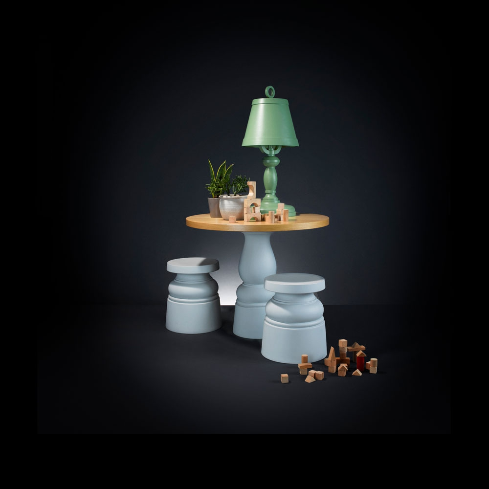 Container Stool New Antiques weiß & Paper Table Lamp