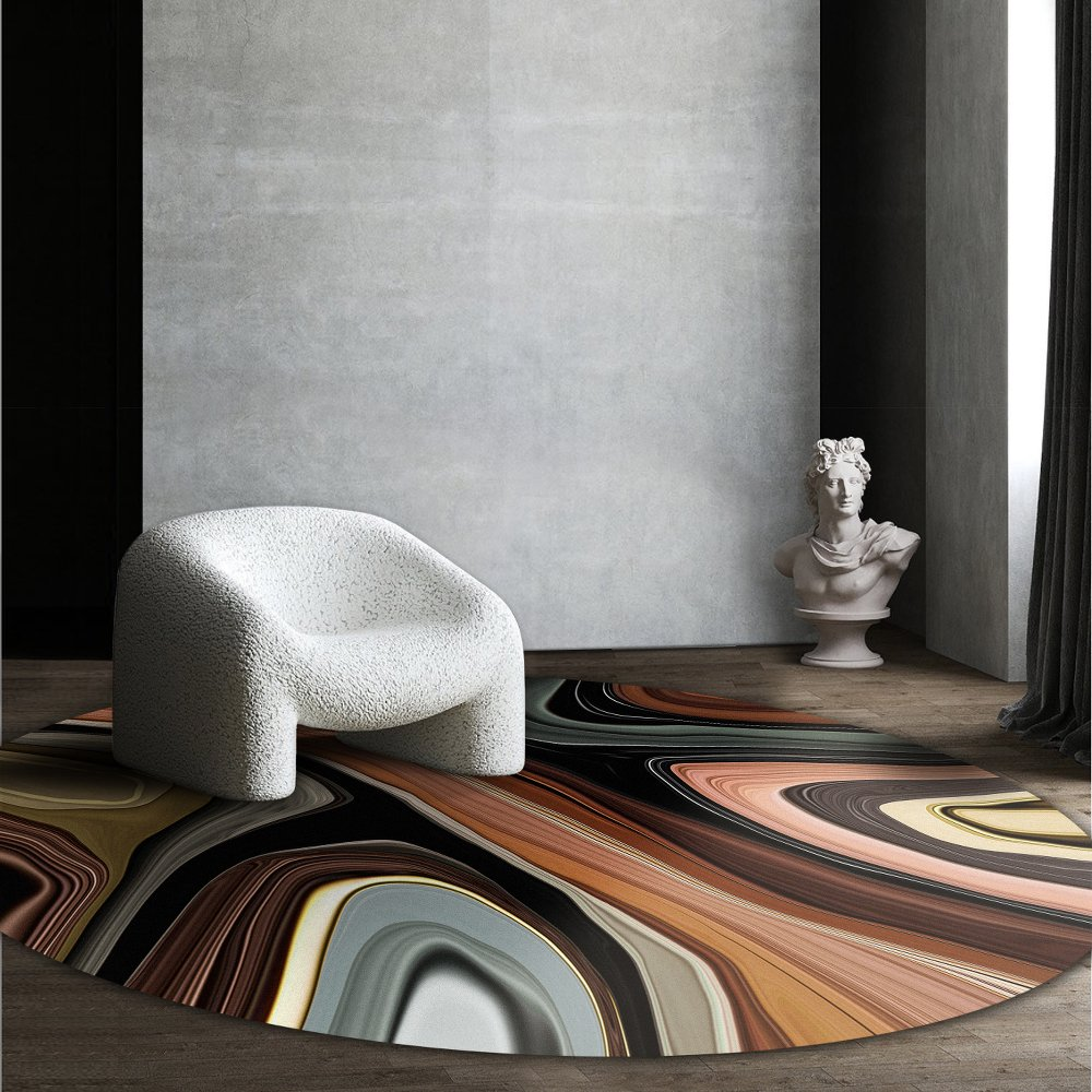 Moooi Carpets - Liquid Layers Agate - Rund Raumansicht