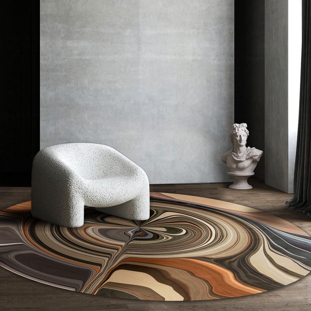 Moooi Carpets - Liquid Layers Pebble - Rund Raumansicht