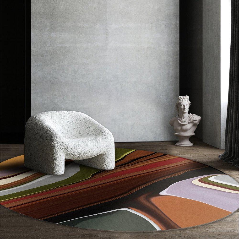 Moooi Carpets - Liquid Layers Tulip - Rund Raumansicht