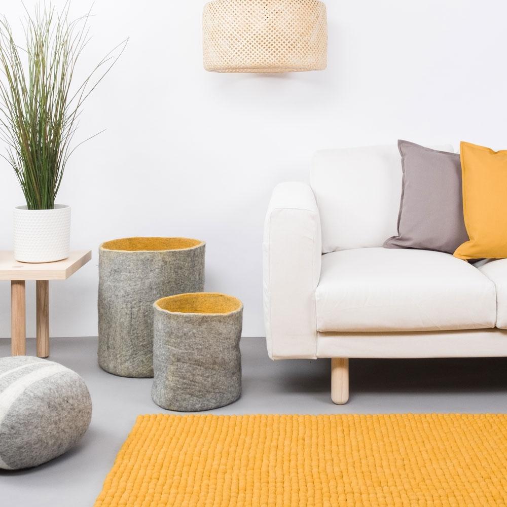 Filzkugelteppich Klara - als Wohnzimmer Teppich