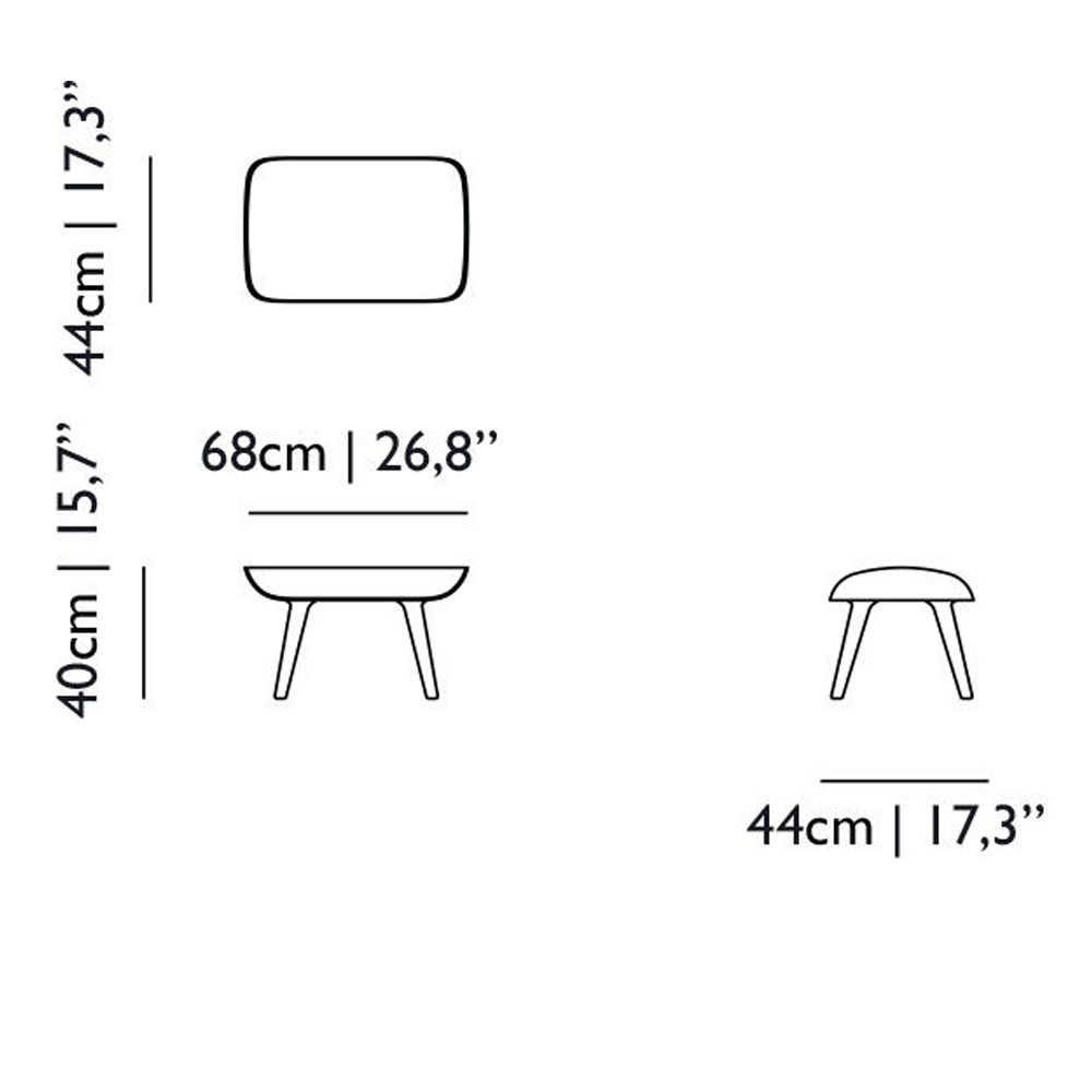 Hocker - Nut Lounge Chair - Maße