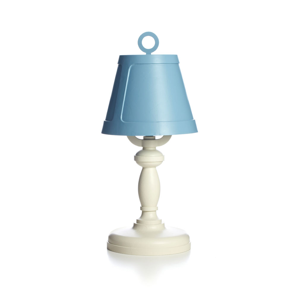 Paper Table Lamp Patchwork 08 - Farbe weiß/blau