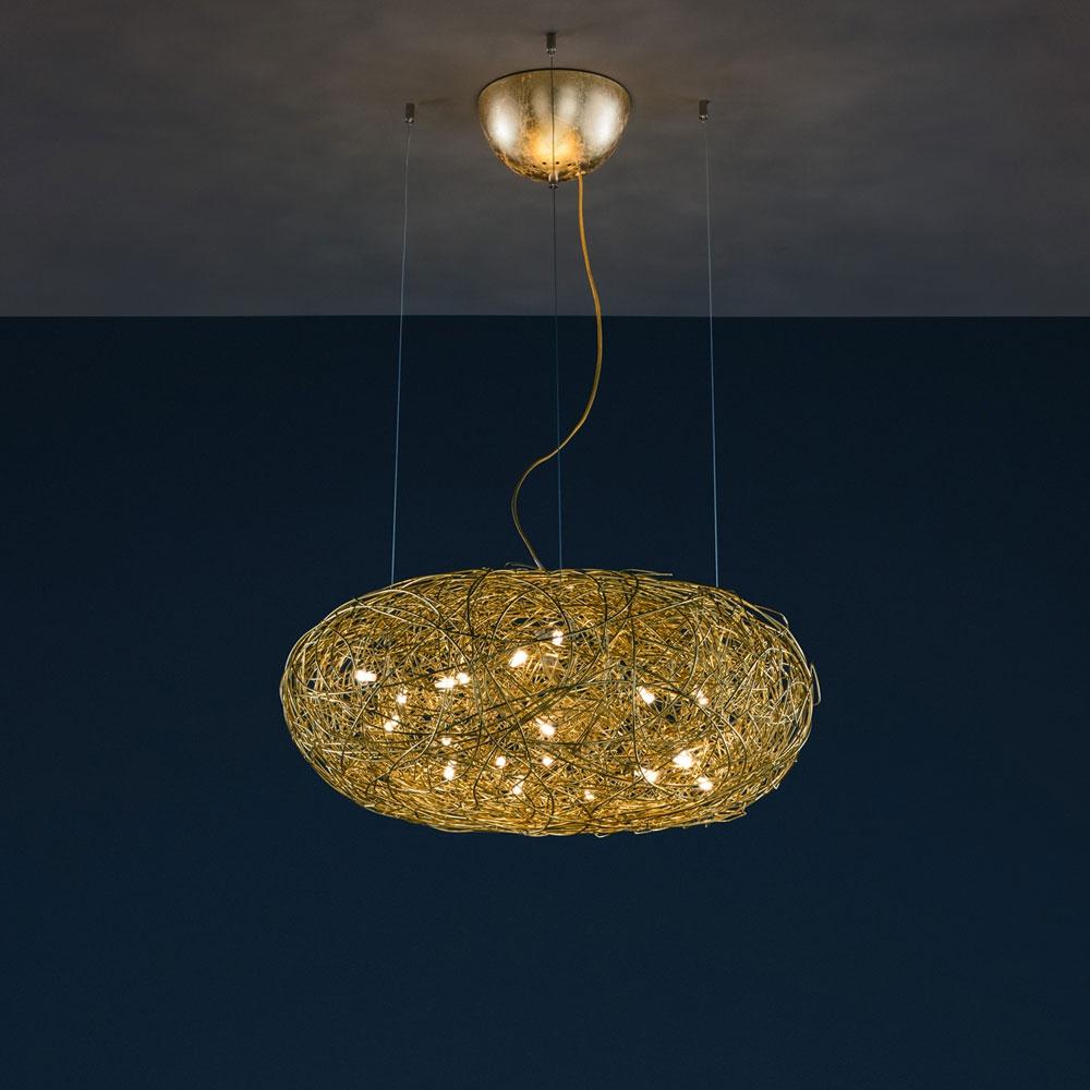Fil de Fer Ovale LED - Gold/Alu - Ø70/110cm